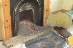 Open fireplace at ground floor level - chimney flue relining Co. Galway